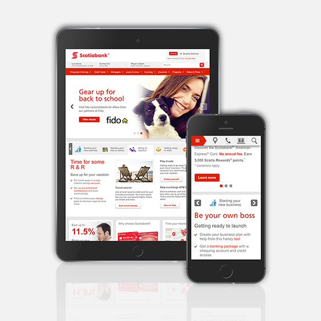 Scotiabank homepage redesign
