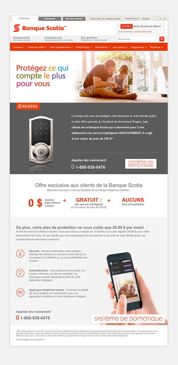 Scotiabank, various landing pages